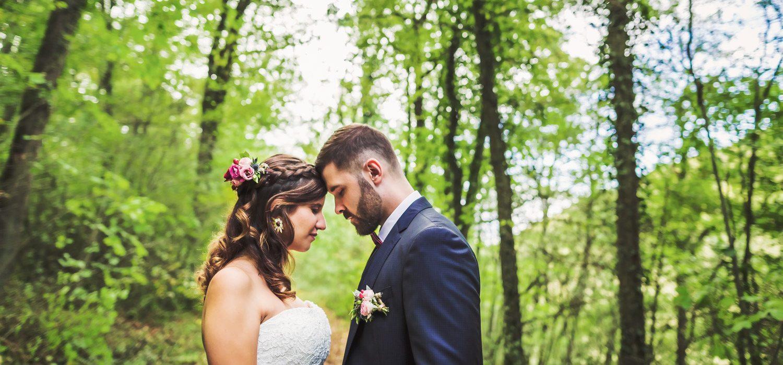 Photgraphie de mariage en forêt près de Dijon